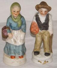 Old Man & Woman Figurines Georgian Period Dress Porcelain Bisque Ornaments