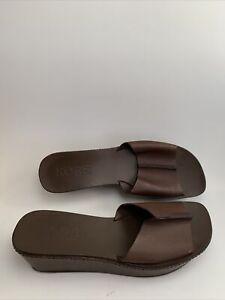 Michael Kors Platform Brown Leather Slide Sandal Size 10M