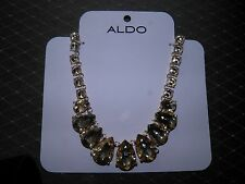 ALDO Goldtone Rhinestone Necklace Large Stones Brand NEW Teardrop Statement