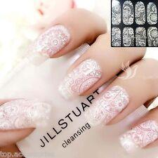 Bohemian White Lace Nail Art Wrap Full Cover Sticker Transparent #06119 Free P&