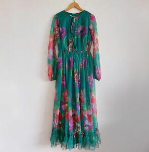 Vintage Floral Green Dress Floral Long Sleeve Maxi Long Boho Bohemian Sheer