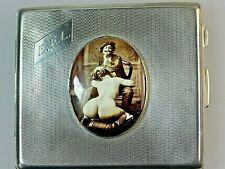 "EROTICA NUDE FEMALE ANTIQUE VINTAGE ""THE ARTIST"" ENAMEL CIGARETTE CASE 1933"