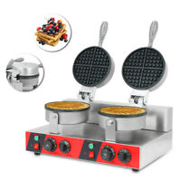 Nonstick Dual Rotary Electric Double Waffle Machine  Waffle Bake MakerCommercial
