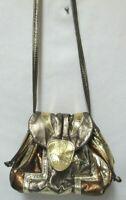 Vintage Leather Patchwork drawstring bucket flap shoulder bag purse Metallic