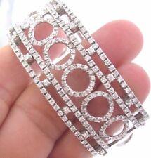 """WIDE Circular Diamond Cuff Solid White Gold 18Kt 3.52Ct G-VS1/VS2 2.25"""" Diameter"""