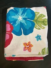 Hibiscus Twin Duvet Pink Blue Green 100 % Cotton Hawaiian Tropical EUC Button