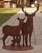 Edelrost Hirschfamilie auf Platte 30x40cm Garten Waldtiere Reh Hirsch Kitz Deko