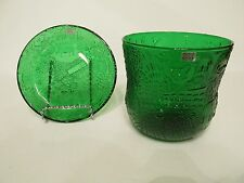 Gorgeous HTF Arabia Finland Emerald Forest Green Fauna Bowl Plate Set