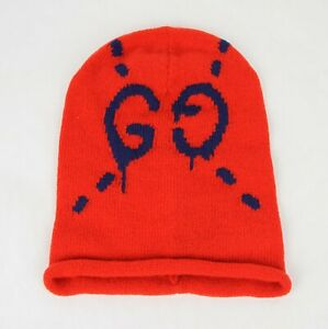 New Gucci Red Wool Beanie Hat with Blue Ghost GG M/57 455975 6568