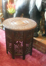 Victorian Antique Anglo Indian Carved Grapes Rosewood Folding Decorative Table