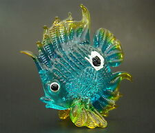 Glass FISH Tinted Turquoise & Gold Tropical Aquarium Fish Glass Ornament Gift