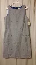 J.G. Hook - Sleeveless Cotton Checkered Blue/White Floral Size 16     FS14