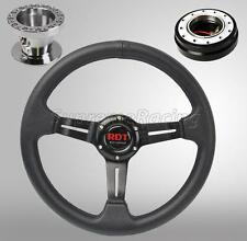 Black Quick Release Steering Wheel Combo Kit w/Hub For Civic 92-95 Integra 94-01