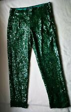 French Connection Sequin Green Women`s Trousers Size 10 Style 74CXE