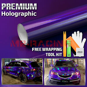 Holographic Purple Rainbow Neo Chrome Car Vinyl Wrap Bubble Free Sticker Film