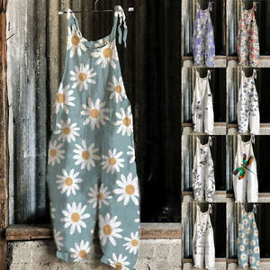 Womens Summer Beach Sleeveless Jumpsuits Floral Daisy Dungarees Ladies Rompers