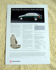 Vauxhall Astra Mk4 2000 Models Product update, 2 page brochure
