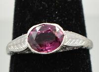 Vintage-Style Platinum Garnet Ring - Size #7