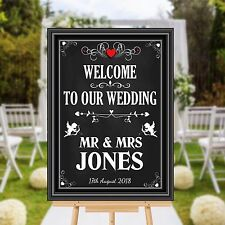 Personalised Welcome to our Wedding Sign Banner Print N110 Chalkboard Style