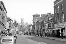 PHOTO  LINCS 1956 LINCOLN NORTHWARD ON HIGH ST. TO CATHEDRAL