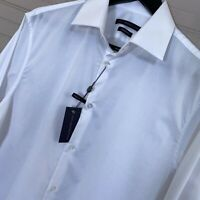 John Varvatos Modern Fit Stretch White Dress Shirt Cotton Blend Men's 15.5 L