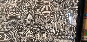 MASTERPIECE LARGE MODERN ART, ORIGINAL PEN INK  24X36 FRAMED