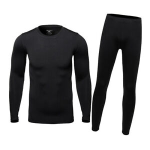 Men's Thermal Fleece Lined Warm Base Layer Winter Cold Weather Top & Bottom Set