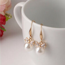1 Pair Women Lady Elegant Pearl Crystal Rhinestone Ear Stud Earrings Gift Hot