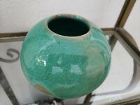 Studio Art Pottery, Red Clay w/Green Glazed Ceramic Stoneware Pot Vase, signed