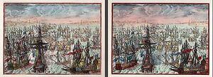 Pair of Spanish Armada Battle Scenes