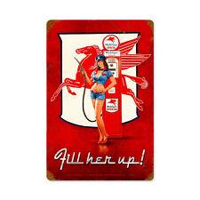 Fill her up Mobilgas funcionaban pin up girl Retro Vintage sign chapa escudo Escudo