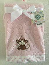 Little Me Baby Girl Plush Blanket Monkey Sculpted Hearts Border Pink