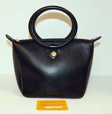 Didier Lamarthe France Carte De Granite Black Reptile Leather Tote Bag w/ Card