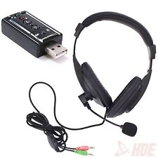 Stereo Headphones w/ Mic for PC Laptop + USB External 7.1 Channel 3D Sound Card