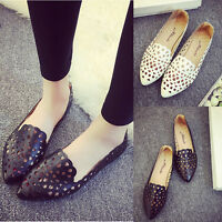 Fashion Women Flats Hollow Out Loafers Pumps Casual Pointed Toe Shoes Slip On