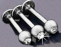 SET OF 3 LIP LABRET BARS STAINLESS STEEL  WITH RHINESTONE DIAMOND