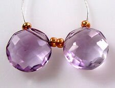 2 ROSE De FRANCE PINK AMETHYST FACETED COIN CUSHION CUT FOCAL BEADS 10 mm V27