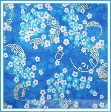 BonEful Fabric FQ Cotton Quilt Aqua Blue White Flower Gold White Chinese Calico