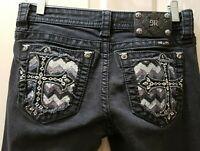 Miss Me Signature Skinny BLK Denim Jeans Size 28 Rise 8 Waist 15=30X30 Stretch