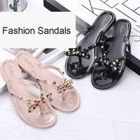 Women Flip Flops Stud Toe Bow Flat Jelly Thong Sandals Summer Beach Shoes