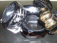 wholesale lot 6 PCS wide acrylic hinge bracelets , bangle copper / pewter /brass