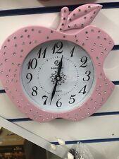 Pink Apple Wall Clock - 30cm Diameter - Diamond Encrusted Design (small)