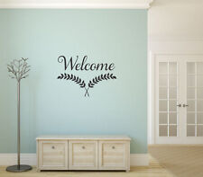 WELCOME Leaves Words Lettering Vinyl Wall Decal Quote Sticker Home Decor