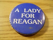 "A LADY FOR REAGAN 1980s Presidential Campaign 2 1/4"" Pinback Political Button #1"