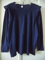 Old Navy Ruffle Accent Navy Blue Cotton Slub Scoop T-shirt Knit Top 2X 18 20 XXL