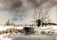 SNOWY WINTER IN NORFOLK Watercolour Painting J TOD - 20TH CENTURY