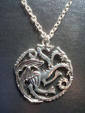 New *GAME of THRONES* Necklace - DRAGONS House TARGARYEN Sigil Pendant & Chain