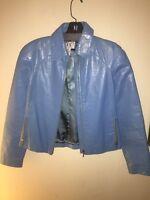 Armani Exchange Blue Patent Leather Jacket Size XS Womens NWOT! $395