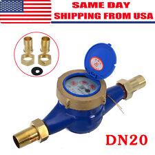 """3/4"""" Dn20 Water Meter Flow House Garden Metering Various Connectors"""