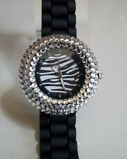 Women's Assorted Color Zebra Rhinestone Bezel Accented Silicone Fashion Watch